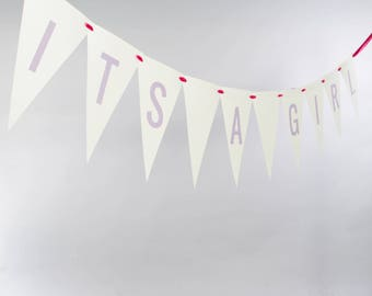 It's A Girl Bunting Banner | Bridal Shower Signage | Handcrafted Garland for Baby Announcement or Gender Reveal | Nursery Decor 3107 BNTG