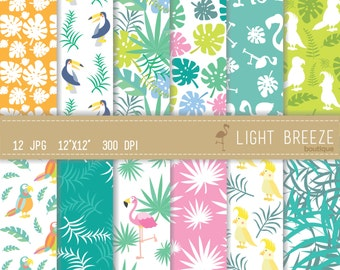 Tropical Digital Paper Set - Instant Download - Hawaii - Pink -Green - Orange