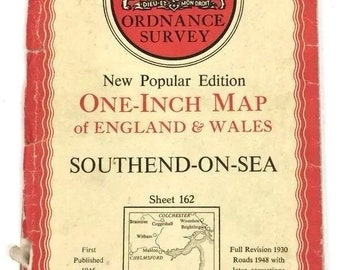 Vintage Ordnance Survey 1947 Map 162 Southend On Sea Paper One Inch Map