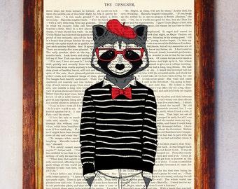 Raccoon Art Print, Raccoon with Glasses Print, Raccoon Wall Art, Book Raccoon Print, Hipster Raccoon Print, Digital Download