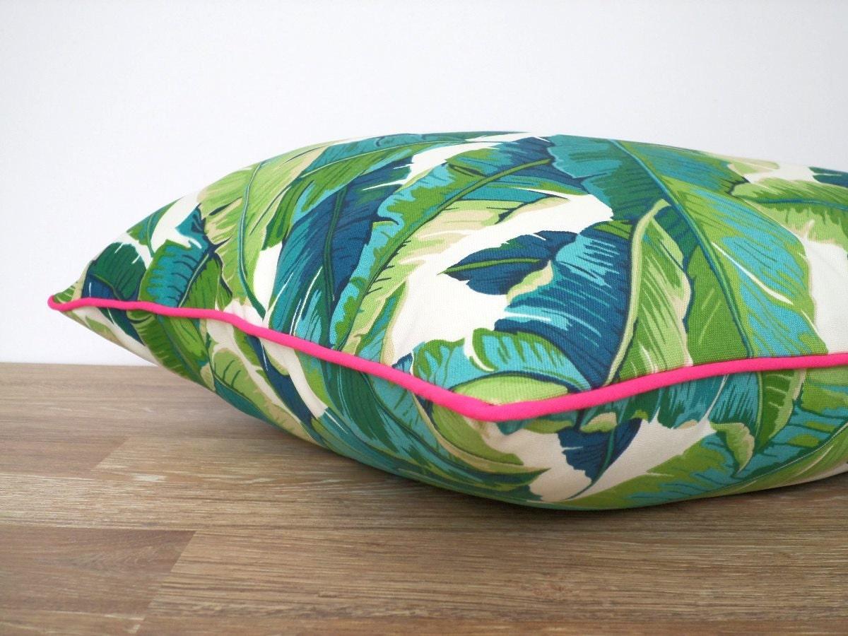 Se Sacude La Palma Hoja Almohada Caja 18 X 18 Verde Y Rosa Al # Muebles Hoja De Banano