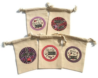 Girls Rock Birthday Party Favors Muslin 4x6 Set of 10 Goody Treat Bags Rock Star Pink Purple Guitars Music Microphone Custom # Available