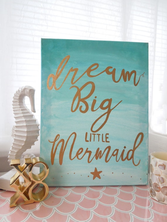 Mermaid Canvas Art 11x14 Canvas Aqua And Gold Nursery Wall