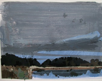 Trout Pond, Overcast, Original Autumn Landscape Collage Painting on Paper, Stooshinoff