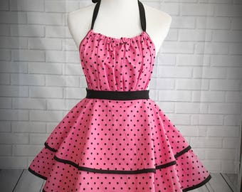 Pink retro pinup ruffled apron with black polka dots and black trim and ties / Great gift for bridal shower, hostess gift or just because!