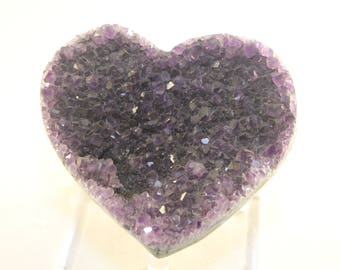 """4-1/2"""" AMETHYST GEODE Hand Carved Heart From BRAZIL 15.2 oz. Crystal Geode Heart Shaped Paperweight/Worry Stone/Palm Stone"""