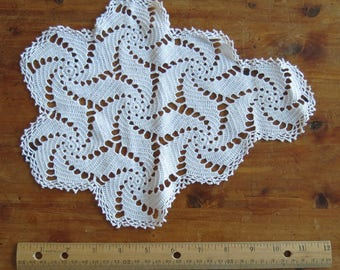 Vintage Hand-crocheted tear-drop doily 9 x 12 inches