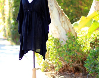 Mini Caftan Dress - Beach Cover Up Kaftan in Black Cotton Gauze - Lots of Colors
