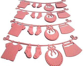 Pink Cardstock Baby Girl Banner Die Cut Embellishments, Cards, Scrapbooks, Gifts, Tags, Decorations