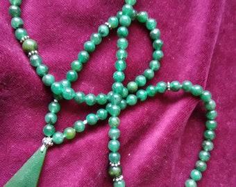 Greenstone Jade Tasbeh Tasbih,Misbaha, Tespih, Subhah, Islamic 99x6mm,with pendant