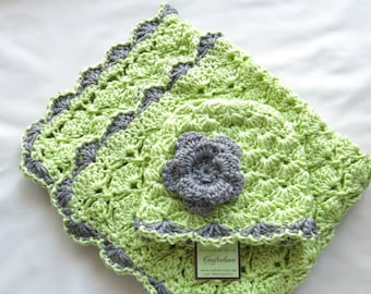 Crochet baby blanket- Baby Girl Shower Gift set- Baby Girl blanket- Soft Fern green/Grey Panel Shells and Hat with flower- Photography props