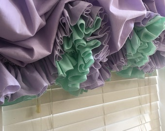 Lavender and Mint Green Double Ruffle Balloon Curtain