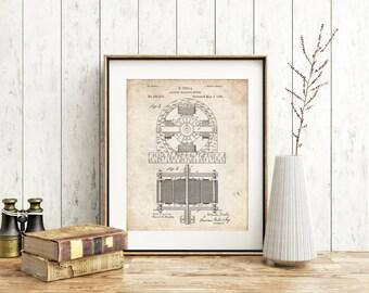 Tesla Electro Motor Patent Poster, Nikola Tesla, Technology Art, Electric Motor, Tesla Motors, PP0173