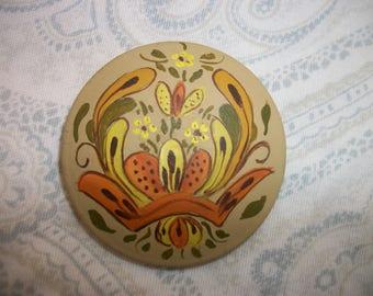 Vintage Hand Painted Rosemal Wooden Brooch