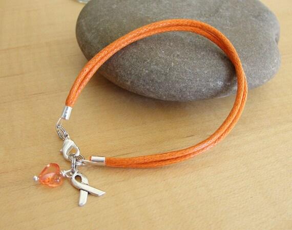 orange cotton awareness bracelet dvt kidney cancer