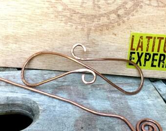 Hammered Copper Hair Clip, Barrette, Bun Holder, Hair Jewelry