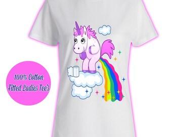 Womans Ladies Girls Tumblr Unicorn Rainbow Pink Glitter Princess Celeb Pug Kids 2 T Shirt