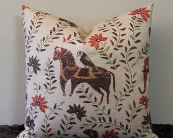 """Duralee Mahout Print - in the Bark Colorway - 16"""",18"""",20"""",22"""" or 24"""" Square  Pillow Cover"""