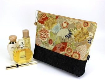 zippered pouch, cosmetics pouch, cotton pouch, travel pouch, large cosmetic pouch, Crane dark yellow