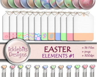 "Easter Digital Elements and Embellishments Pack, ""EASTER"" For Scrapbooking, brads, digital tags, paperclips,easter bunny, easter chicks, #36"