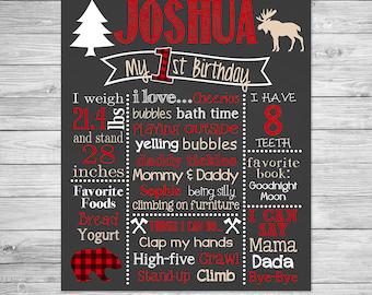 Lumberjack First Birthday Chalkboard Poster of Favorite Things -  Chalkboard Sign - Lumber Jack, Moose, Buffalo Plaid