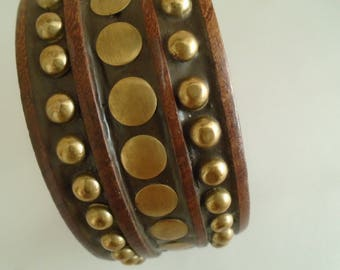 wooden bangle with brass stud detail