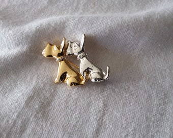 Vintage Gold and Silver Toned Westie, Scottie, West Highland Terrier Dog Brooch