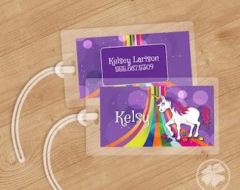 Unicorn and Rainbows - Luggage Tag, Bag Tag, Backpack Tag, ID Tags, Personalized, Custom
