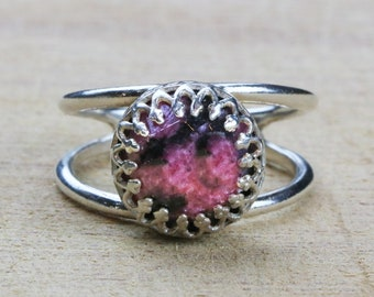 MOTHER'S DAY SALE - Rhodonite ring,silver ring,simple stone ring,everyday ring,sterling ring,fine jewelry rings,silver rings,gemstone ring