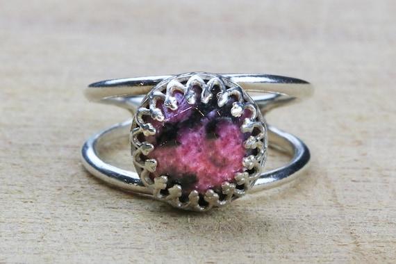 SUMMER SALE Rhodonite ringsilver ringsimple stone