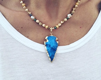 Blue iris Agate arrowhead necklace