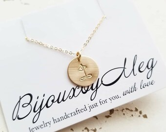 Namaste Yoga Necklace, Rose Gold, Yellow Gold, Sterling Silver, Yoga Pendant, Spiritual Jewelry, Minimal Disc Necklace, Delicate Om Jewelry