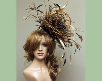 Große Gold und Chocolate Brown Strass Diamante Feather Fascinator Hut - Hochzeit, Damentag - wählen Sie eine Farbe Federn & satin