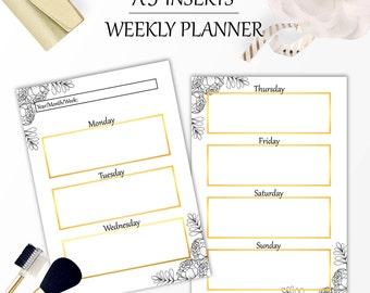 Weekly planner, Printable weekly planner, Planner inserts A5, Printable planner pages, Weekly planner inserts