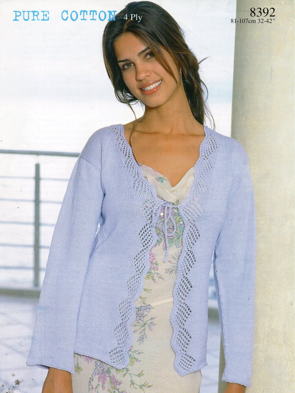 womens cotton cardigan knitting pattern PDF 4ply ladies lacy edge ...