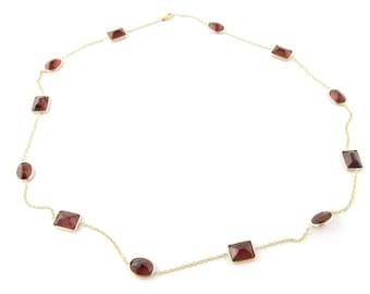 Vintage 14 Karat Yellow Gold and Garnet Necklace #3237