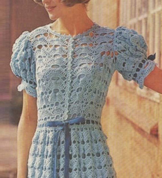 Crochet DRESS Pattern Vintage 70s Crochet Wedding Dress