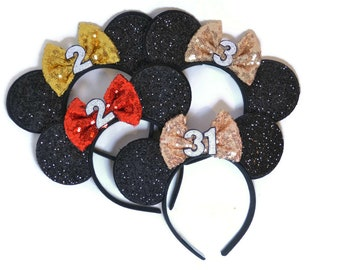 Rose Gold Minnie Mouse Ears || Mickey Mouse Ears || Mouse Ears || Disneyland Headband || Mickey Birthday ||  Minnie Birthday