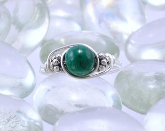 Malachite and Sterling Silver Bali Bead Ring - Any Size