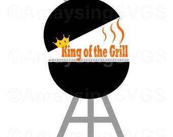 SVG - King of the Grill - BBQ svg - Fathers Day svg - Dad svg - Grill svg - Apron svg - Tshirt svg - Card svg - Summer svg - Grilling svg