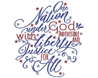 One Nation Under God 4th of July Machine Embroidery Digitized Design Pattern
