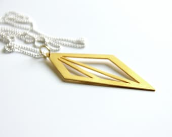 Gold Triangle Pendant Necklace, 24K Gold Plated Silver Geometric Triangle Cut Out Necklace, Geometric Pendant Necklace
