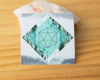 Water Platonic Solid Geometry Sticker - Waterproof Vinyl Stickers, unity, energy, ancient symbol, crystal grid, boho, tarot