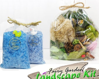 Fairy Garden Landscape Kit ~ Preserved Moss, Glass Chips, and Assorted Tinkers ~ Gift Set for Fairy Gardens ~Fairy Garden Supplies