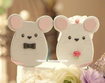 mouse, mice wedding cake topper ,Handmade panda cake topper,Handcrafted wood panda doll