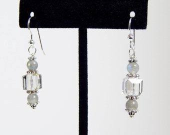 Labradorite and Swarovski Cube Earrings