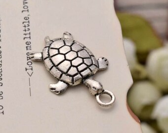 20 antique silver trutle tortoise charms  charm pendant pendants YQ2