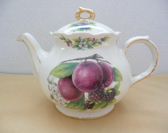 Sadler China Plum Fruit Teapot, Made in England, Fruit and Berries Teapot