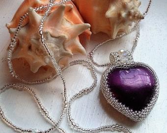 Silver Beaded Purple Heart Pendant Necklace