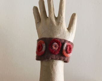 UpCycled Cuff Bracelet Felted Vintage Wool Earthy colors Plum Red